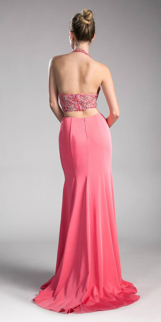 Coral Keyhole Bodice Long Formal Dress with Side Cut-Outs