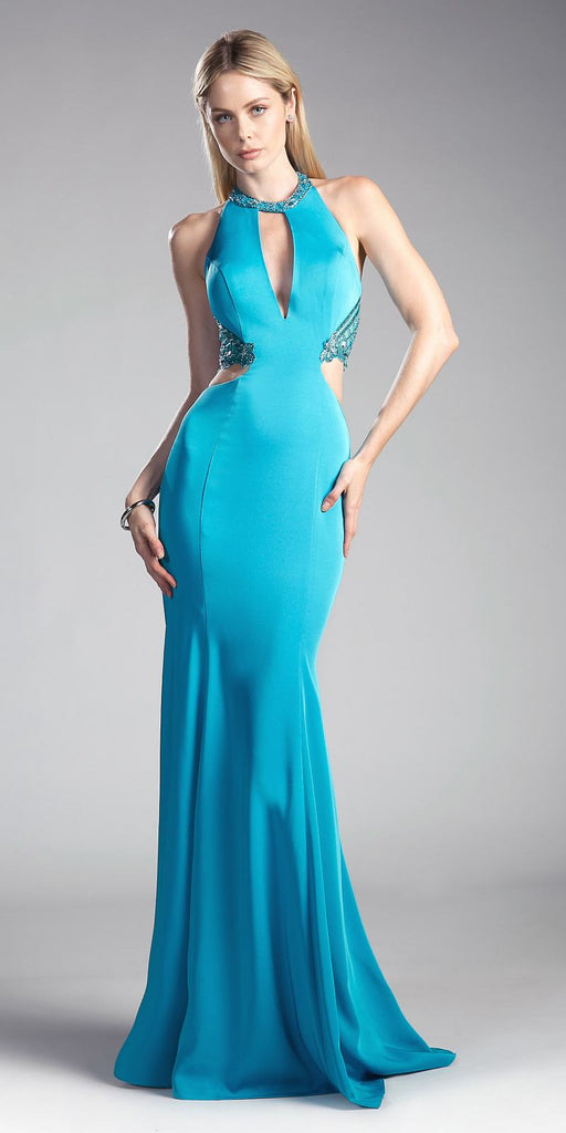 Jade Keyhole Bodice Long Formal Dress with Side Cut-Outs