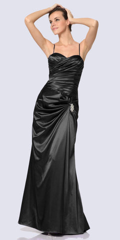 Black Satin Dress Pleated Bodice Strapless Corset Back