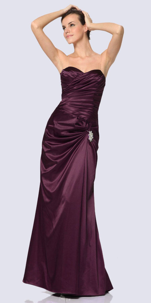 Eggplant Satin Dress Pleated Bodice Strapless Corset Back