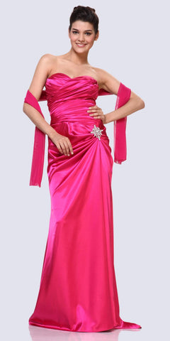 CLEARANCE - Beaded Bodice Long Strapless Thigh Slit Peach Formal Gown