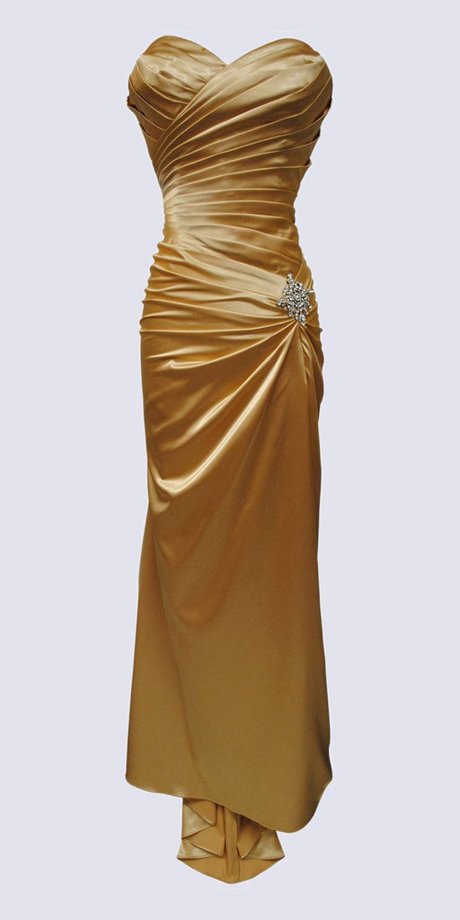 Gold Satin Dress Pleated Bodice Strapless Corset Back