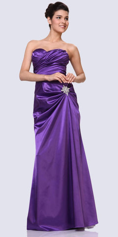 Purple Satin Dress Pleated Bodice Strapless Corset Back