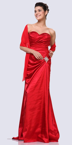Red Satin Dress Pleated Bodice Strapless Corset Back