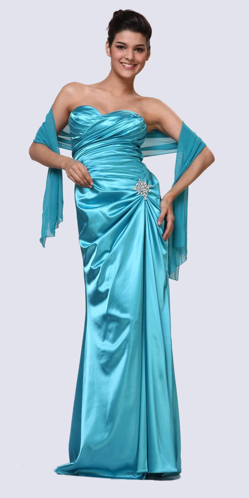 Turquoise Satin Dress Pleated Bodice Strapless Corset Back