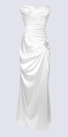 White Satin Dress Pleated Bodice Strapless Corset Back