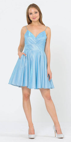 Poly USA 8530 Baby Blue V-Neck Homecoming Short Dress with Pockets