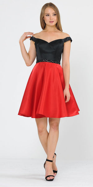 Black/Red Off-Shoulder Homecoming Short Dress