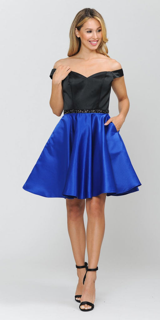 Poly USA 8532 Black/Royal Off-Shoulder Homecoming Short Dress