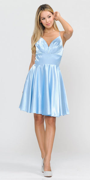 Poly USA 8536 Baby Blue Short Homecoming Romper Dress V-Neck