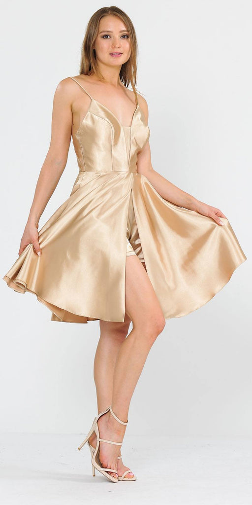 Poly USA 8542 Romper Style Short Homecoming Dress Gold