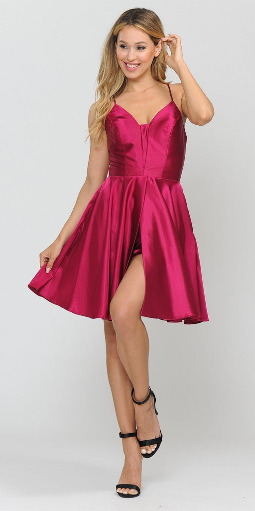 Poly USA 8542 Romper Style Short Homecoming Dress Magenta