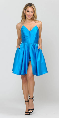 Poly USA 8542 Romper Style Short Homecoming Dress Ocean Blue