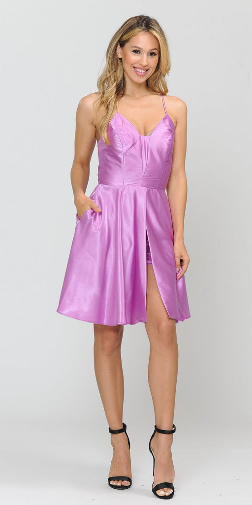 Poly USA 8542 Romper Style Short Homecoming Dress Orchid