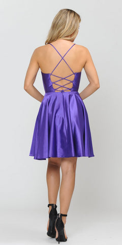 Poly USA 8542 Romper Style Short Homecoming Dress Purple