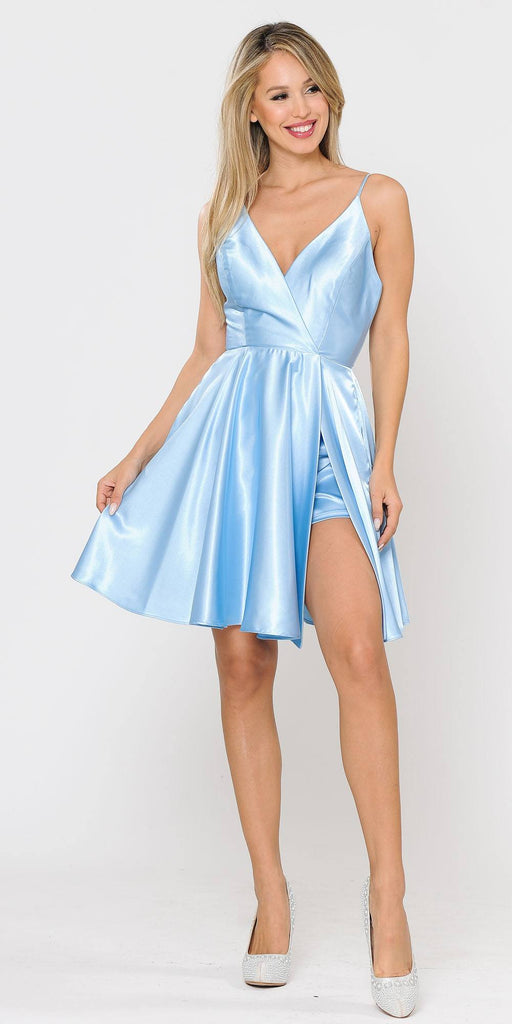 Poly USA 8544 Blue Romper Short Dress with Spaghetti Straps