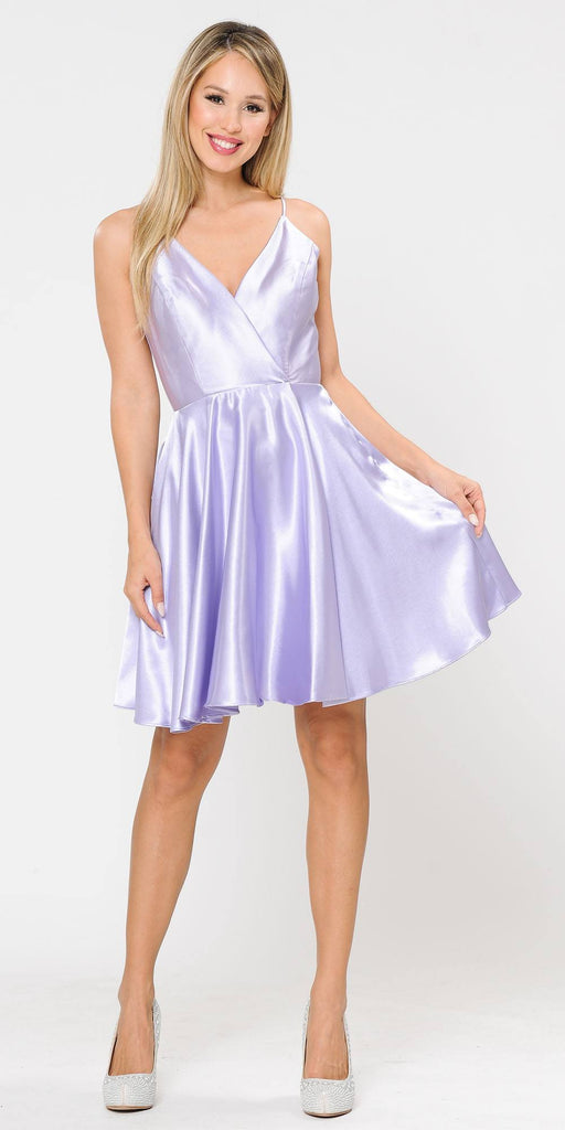 Poly USA 8544 Lilac Romper Short Dress with Spaghetti Straps