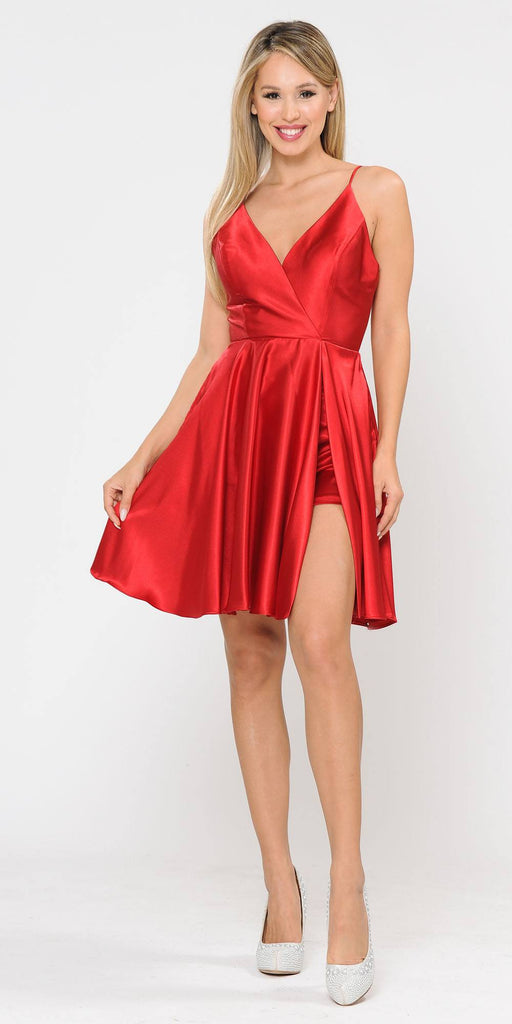 Poly USA 8544 Red Romper Short Dress with Spaghetti Straps