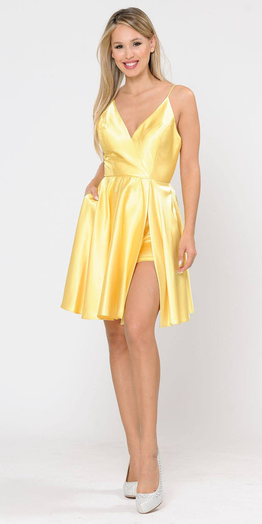 Poly USA 8544 Yellow Romper Short Dress with Spaghetti Straps
