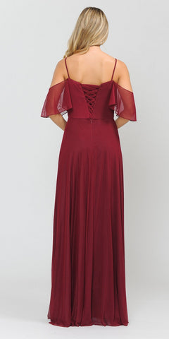 A-Line Cold-Shoulder Long Formal Dress Burgundy