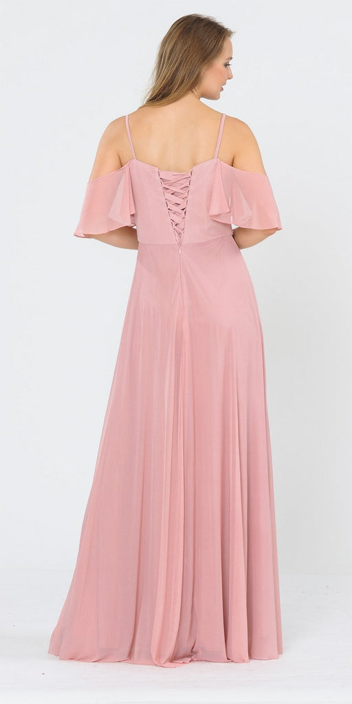 A-Line Cold-Shoulder Long Formal Dress Mauve