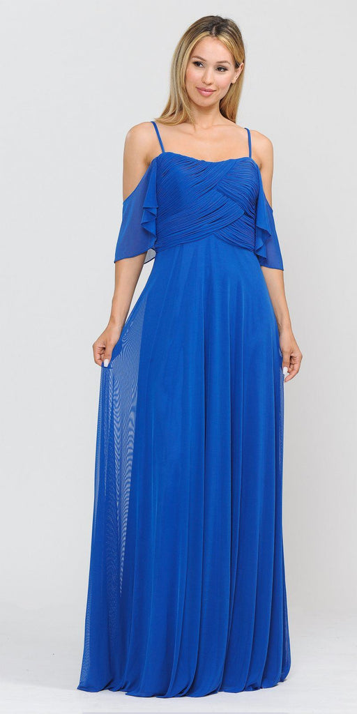A-Line Cold-Shoulder Long Formal Dress Royal Blue