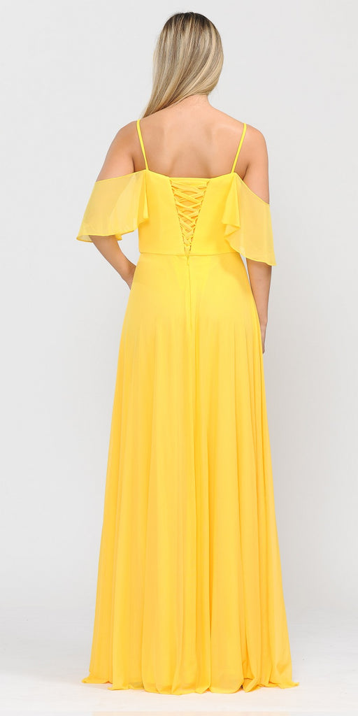 A-Line Cold-Shoulder Long Formal Dress Yellow