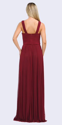 Burgundy A-Line Long Formal Dress Pleated Bodice