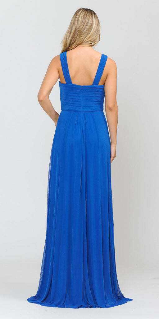 Royal Blue A-Line Long Formal Dress Pleated Bodice