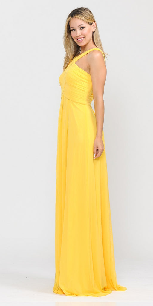 Yellow A-Line Long Formal Dress Pleated Bodice