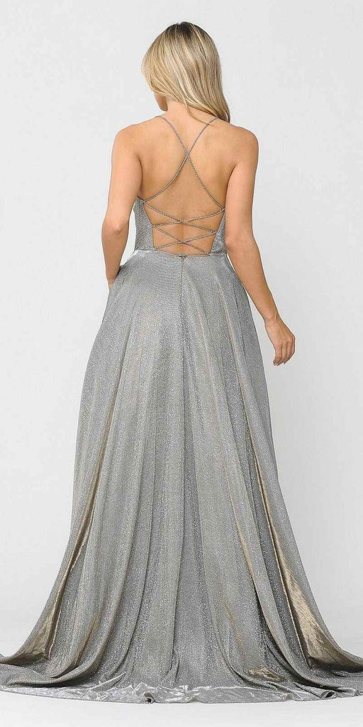 Poly USA 8556 Silver/Gold Criss-Cross Back Long Prom Dress with Pockets