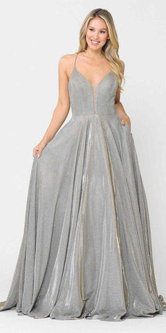 Metallic Strapless A-Line Ball Gown Teal Sweetheart Neckline Leg Slit