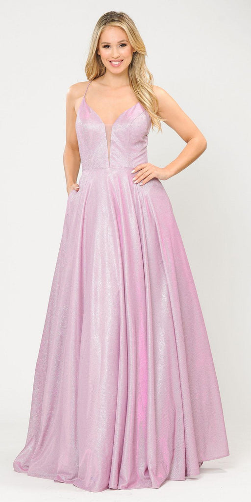 Poly USA 8556 Pink/Lilac Criss-Cross Back Long Prom Dress with Pockets