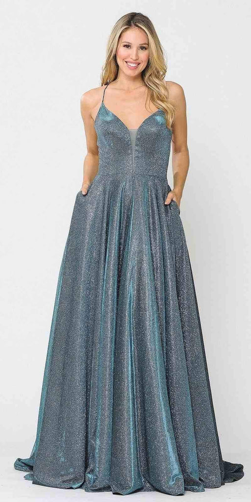 Poly USA 8556 Teal Criss-Cross Back Long Prom Dress with Pockets
