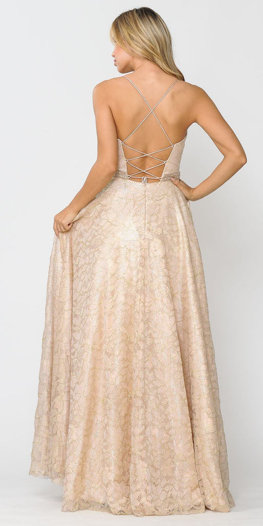 Poly USA 8562 Embellished Waist Lace Long Prom Dress Champagne