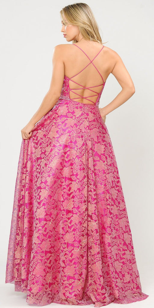 Poly USA 8562 Embellished Waist Lace Long Prom Dress Magenta/Fuchsia