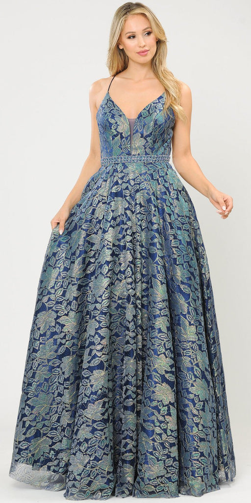 Poly USA 8562 Embellished Waist Lace Long Prom Dress Navy Blue/Green