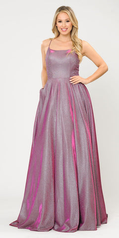 Lace-Up Back Glittery A-Line Long Prom Dress Rose Gold