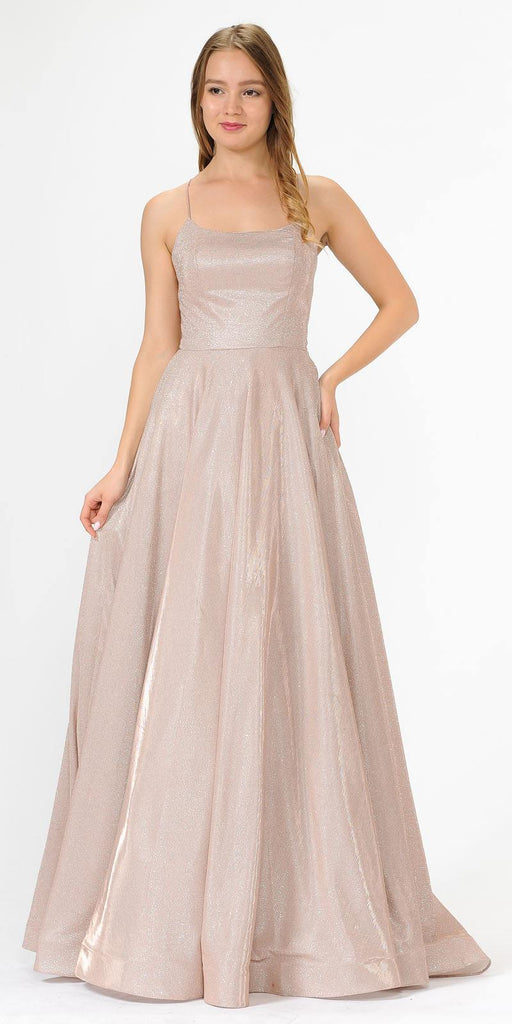 Poly USA 8574 Long Glitter Prom Dress Rose Gold Spaghetti Straps with Pockets