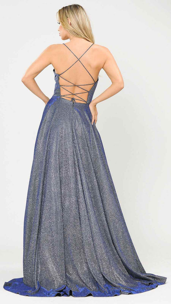 Poly USA 8574 Long Glitter Prom Dress Royal Blue Spaghetti Straps with Pockets