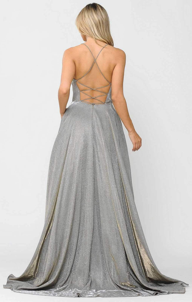 Poly USA 8574 Long Glitter Prom Dress Silver Spaghetti Straps with Pockets