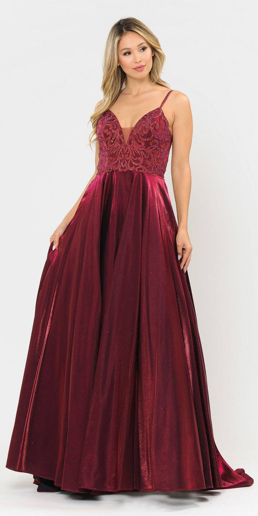 Poly USA 8576 Beaded Long Prom Dress with Pockets Burgundy