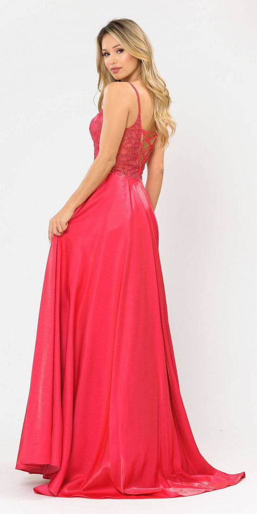 Beaded Long Prom Dress with Pockets Hot Pink