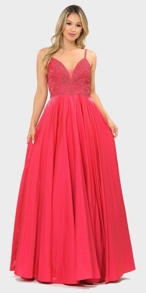 Poly USA 8576 Beaded Long Prom Dress with Pockets Hot Pink