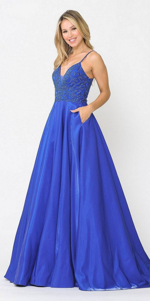 Poly USA 8576 Beaded Long Prom Dress with Pockets Royal Blue