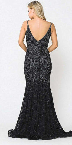 Beaded Lace Mermaid Style Long Prom Dress Black