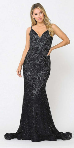 Navy Blue Mermaid Style Embellished Bodice Long Prom Dress