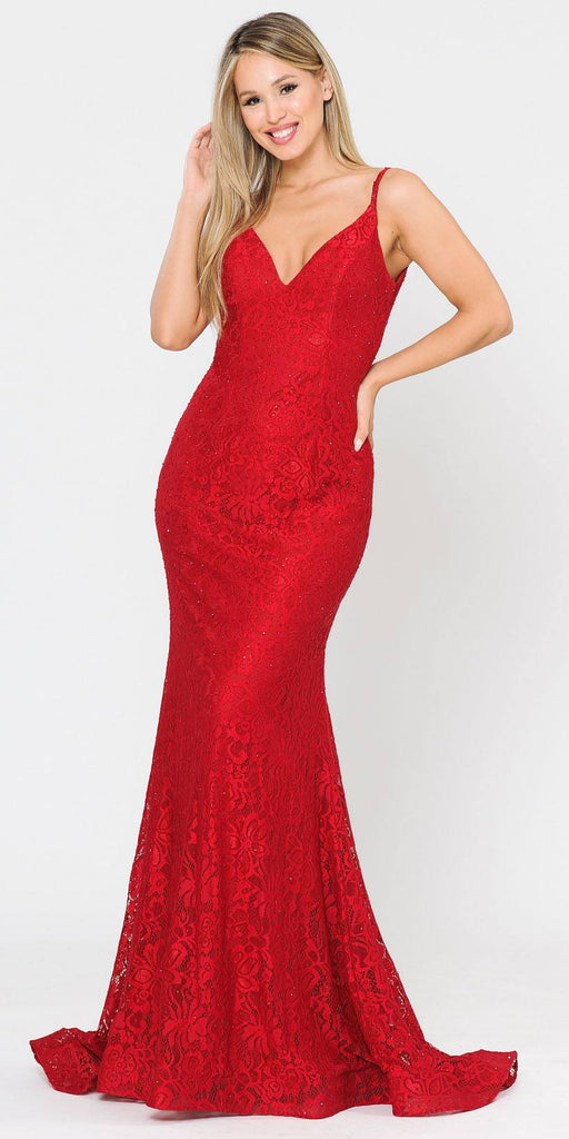 Beaded Lace Mermaid Style Long Prom Dress Red