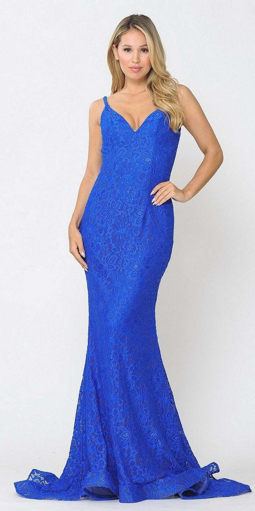 Beaded Lace Mermaid Style Long Prom Dress Royal Blue