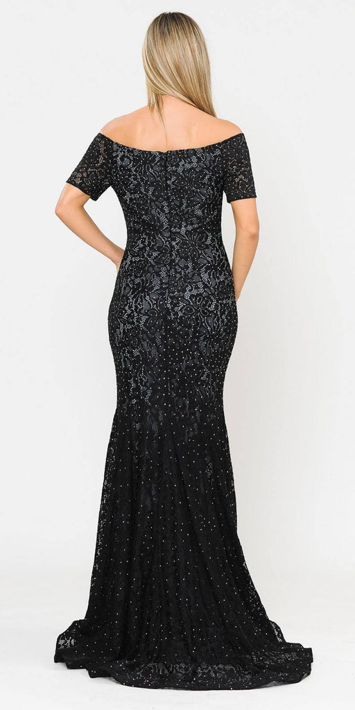 Poly USA 8596 Short Sleeved Off-Shoulder Long Formal Dress Black